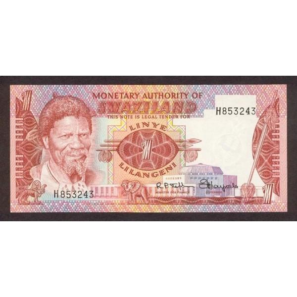 1974 - Swaziland  Pic 1  billete de 1 Lilangeli