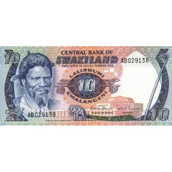 1985 - Swaziland  Pic 10c  billete de 10 Emalangeni