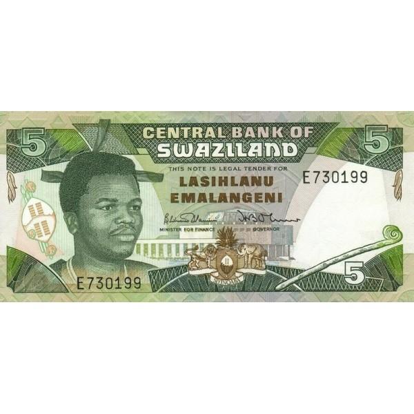 1990- Swaziland  pic 19a  billete de 5 Emalangeni