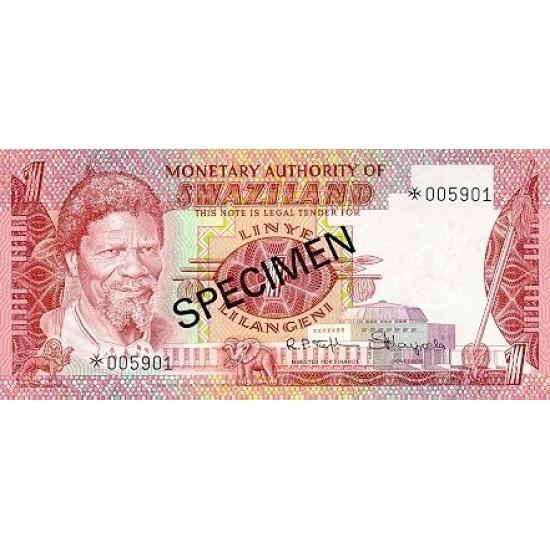1974 - Swaziland  Pic 2s    1 Lilangeli banknote specimen