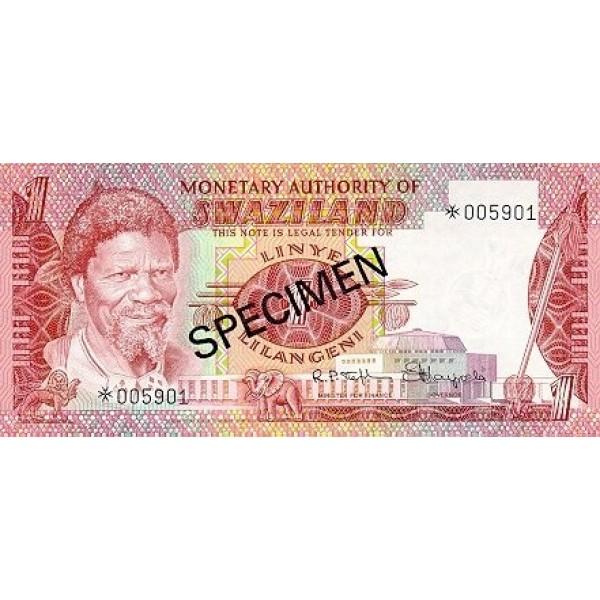 1974 - Swaziland  Pic 1s  billete de 1 Lilangeli Especimen