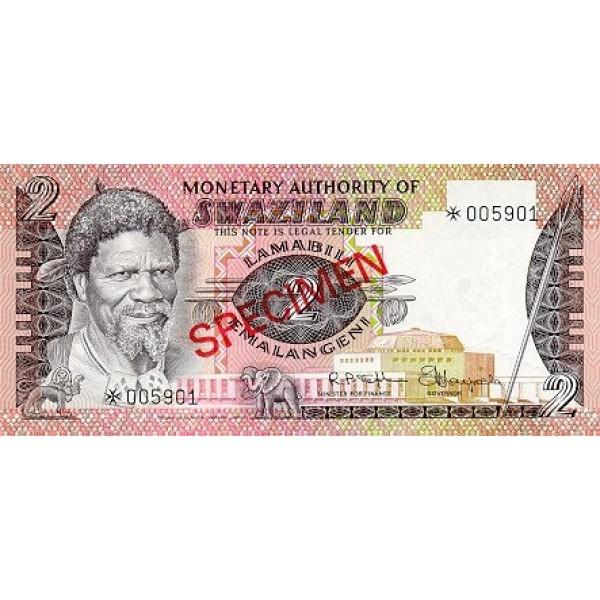 1974 - Swaziland  pic 2 s  billete de 2 Emalangeni