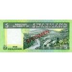 1974 - Swaziland  Pic 3s    5 Emalangeni banknote specimen