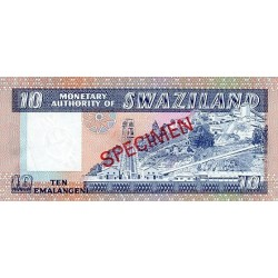 1974 - Swaziland  Pic 4s    10 Emalangeni banknote specimen