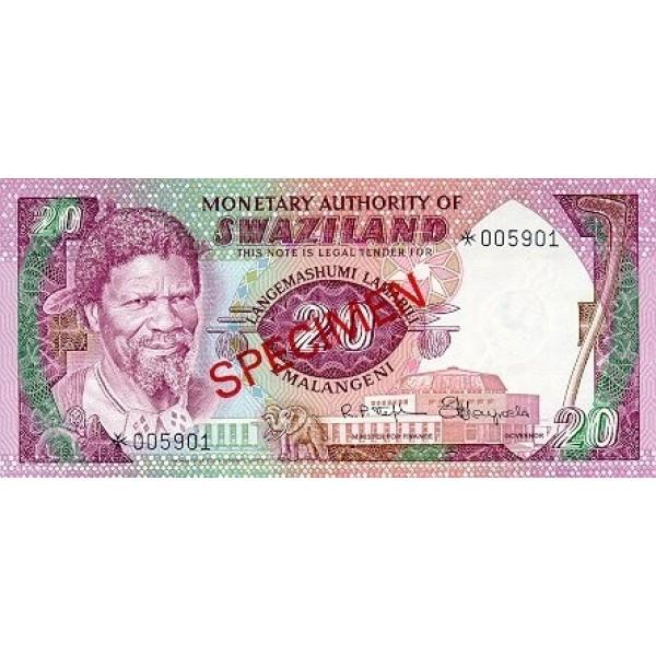 1974  Swaziland Pic 5s billete de 25 emalangeni especimen