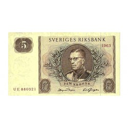 1963 -  Sweden  Pic  50b        5 Kronor banknote