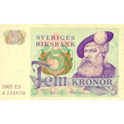 1965 -  Sweden  Pic  51 a      5 Kronor banknote