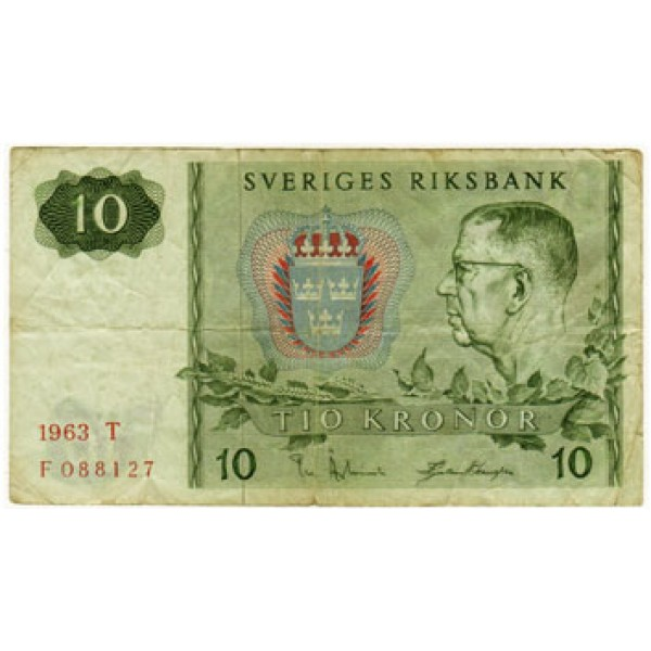 1963 -  Sweden  Pic  52a        10 Kronor  F banknote