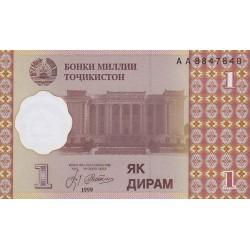 1999 - Tajikistan   Pic  10      1 Diram  banknote