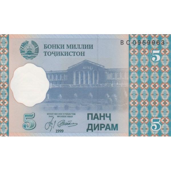 1999 - Tajikistán Pic 11  billete de 5 Dirams