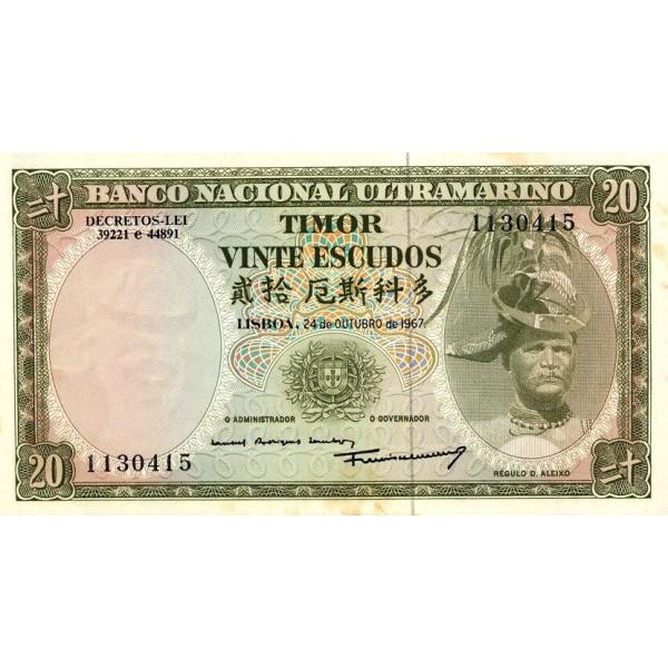 1967 - Timor   Pic  26    billete de 20 Escudos