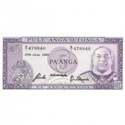1987 - Tonga P21c 5  Pa´anga banknote