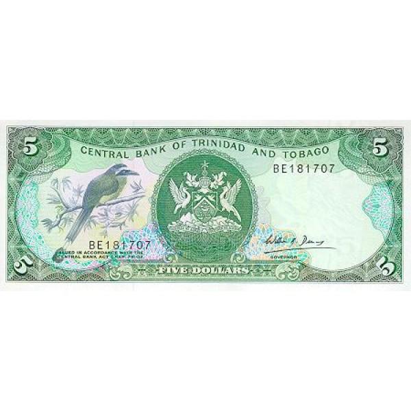 1985 - Trinidad y Tobago  Pic  37 c      5 Dollars S.6  banknote