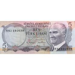 1976 - Turkey   Pic  185               5 Liras  banknote