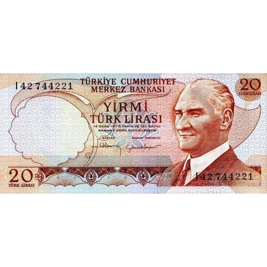 1974 - Turkey   Pic  187b               20 Liras  banknote
