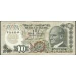 1972 - Turkey   Pic  189              100 Liras  banknote