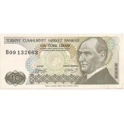 1972 - Turkey   Pic  192             10 Liras  banknote