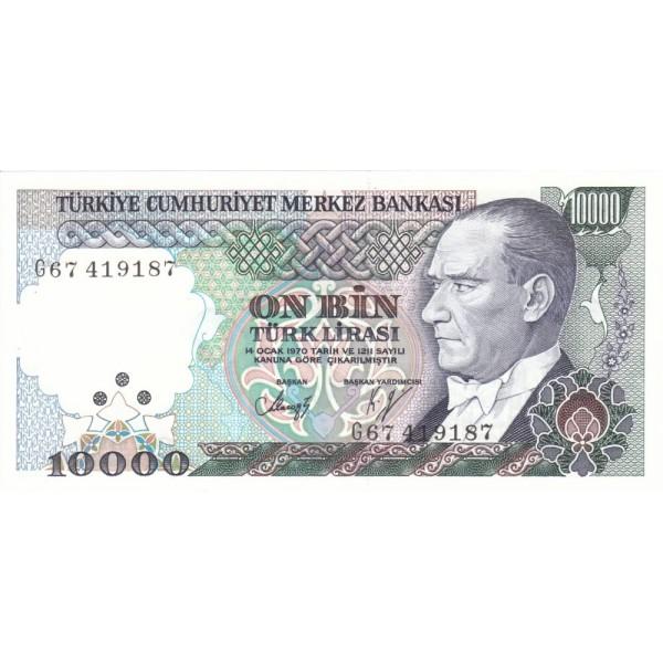 1989 - Turkey   Pic  200            10.000 Liras  banknote
