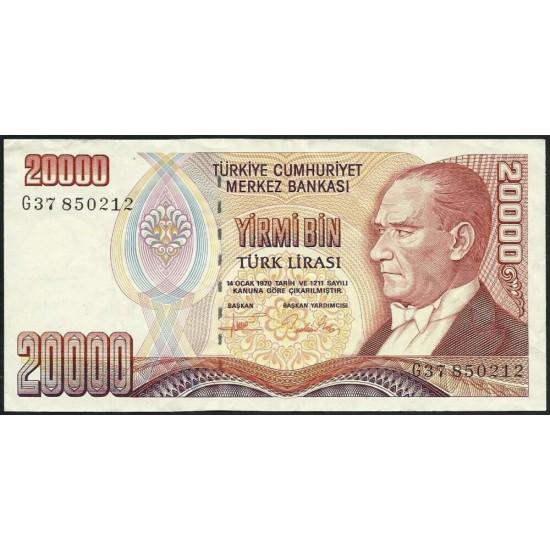1995 - Turkey   Pic  202            20.000 Liras  banknote