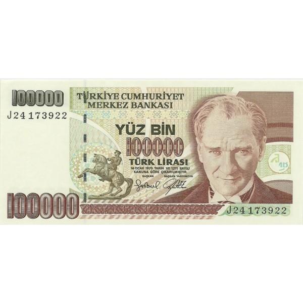 1991 - Turkey   Pic  205a               100.000 Liras  banknote
