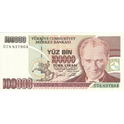 1997 - Turquia   Pic  206             billete de   100.000 Liras