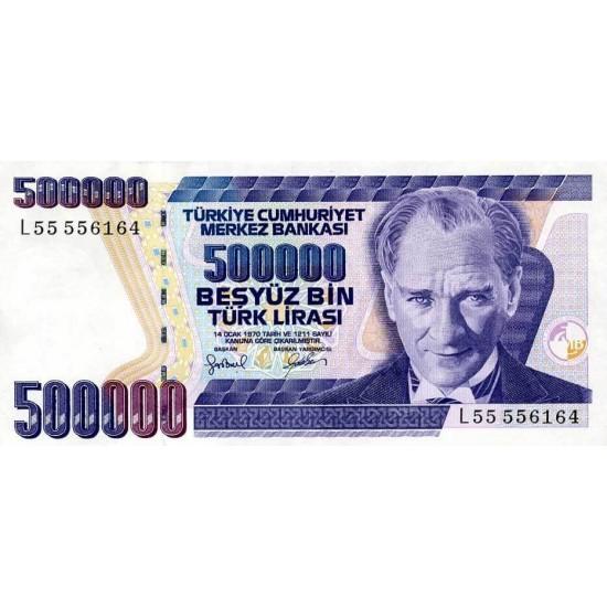 1998 - Turkey   Pic  212               500.000 Liras  banknote