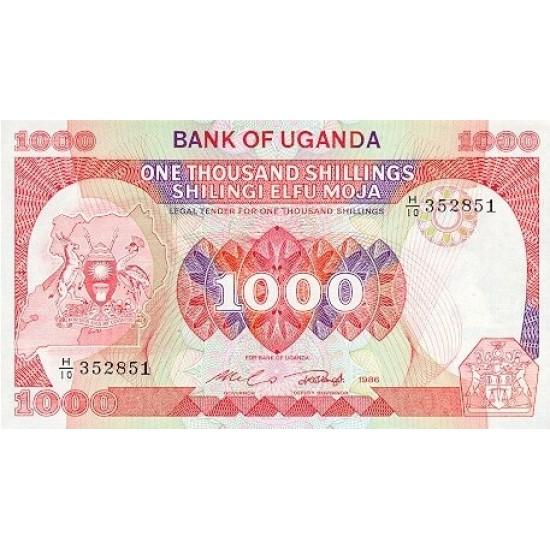 1986 - Uganda PIC 26   1000 Shillins banknote