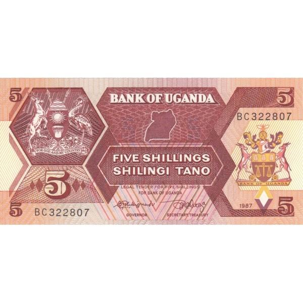 1987 - Uganda PIC 27   5 Shillins banknote