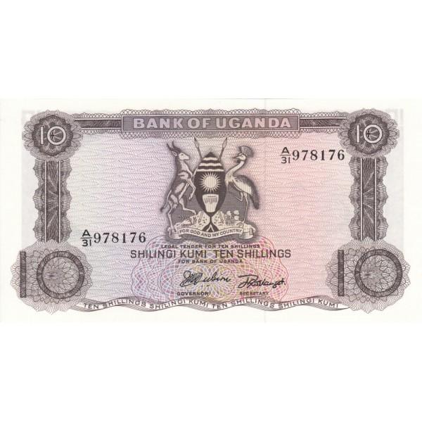 1966 - Uganda PIC 2    billete de 10 Shillins