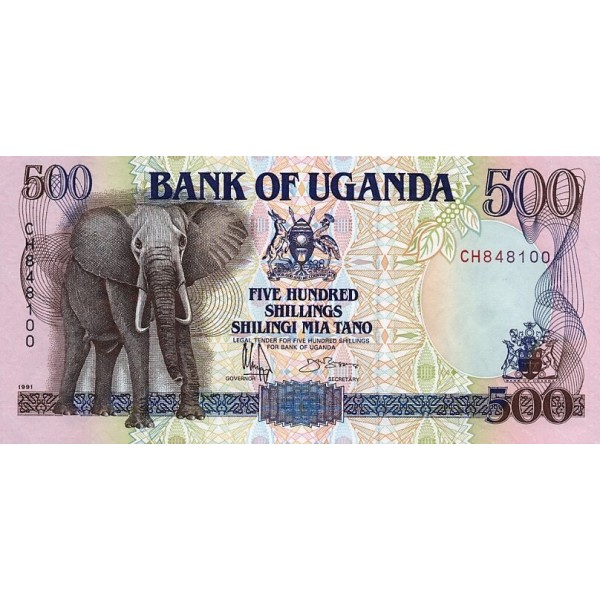 1991 - Uganda PIC 33b  500 Shillins banknote