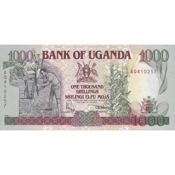 1991 - Uganda PIC 34a  1000 Shillins banknote