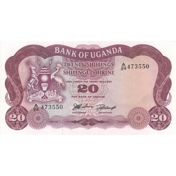 1966 - Uganda PIC 3    billete de 20 Shillins