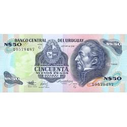 1989 - Uruguay P61A 50 Nuevos Pesos banknote