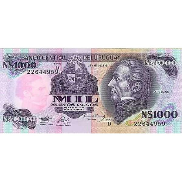 1992 - Uruguay P64Aa 1,000 Nuevos Pesos banknote