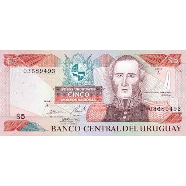 1983 - Uruguay P65 5,000 Nuevos Pesos - C  banknote