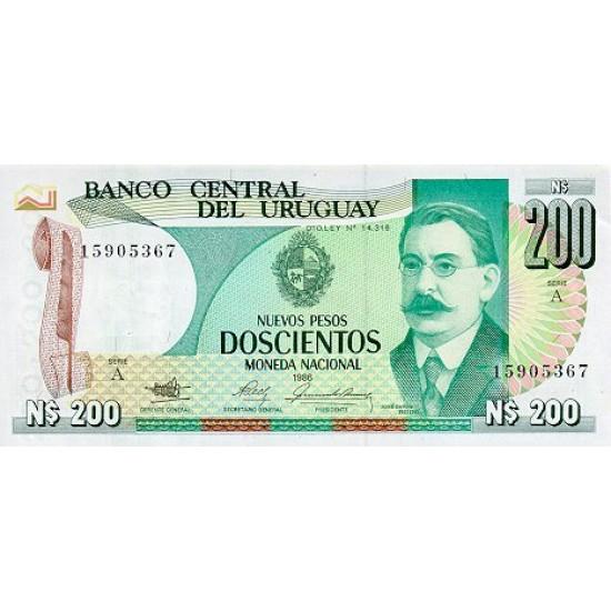 1986 - Uruguay P66 200 Nuevos Pesos  banknote