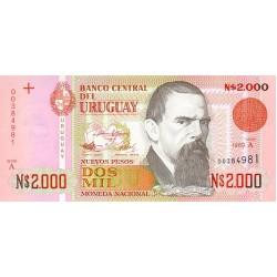 1989 - Uruguay P68a 2,000 Nuevos Pesos banknote