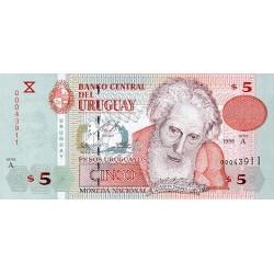 1998 - Uruguay P80a 5 Pesos Uruguayos banknote