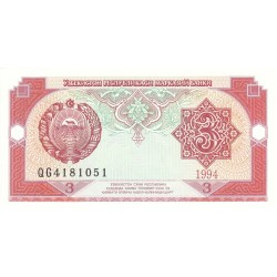 1994 - Uzbekistan PIC 74     3 Sum  banknote