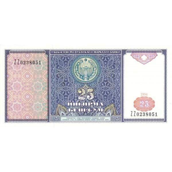 1994 - Uzbekistan pic 77  billete de 25 Sum
