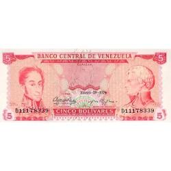 1974 - Venezuela P50h 5 Bolivares banknote
