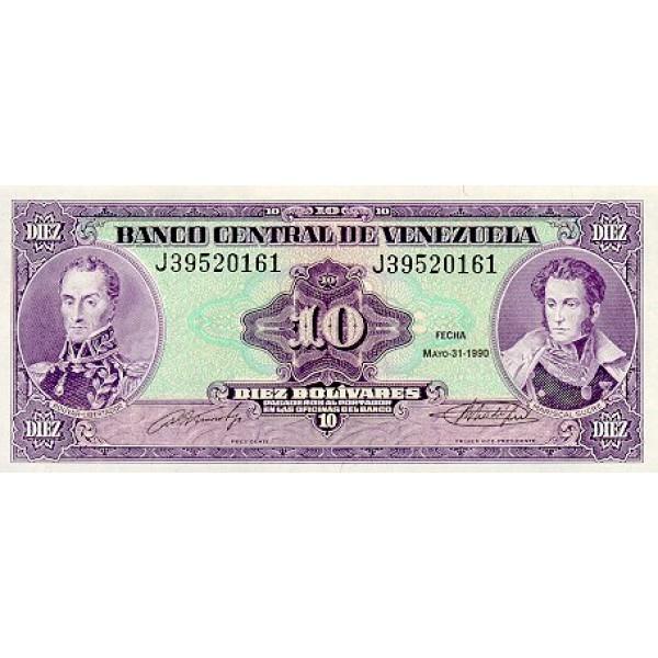 1990 - Venezuela P61b 10 Bolivares banknote