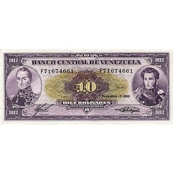 1988 - Venezuela P62 10 Bolivares banknote