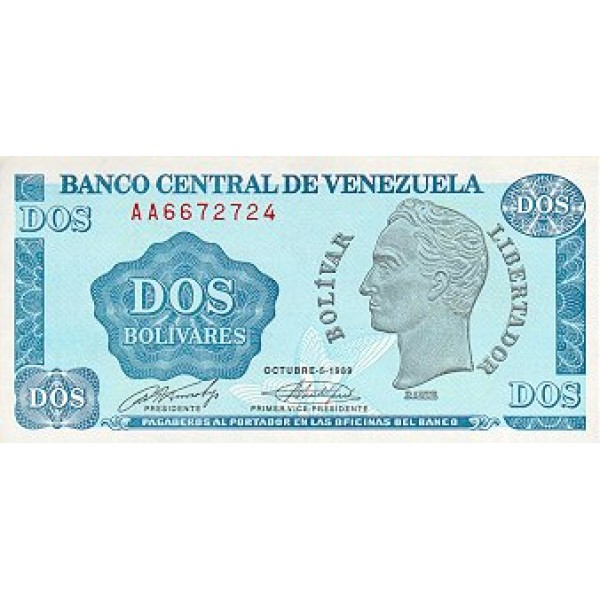 1989 - Venezuela P69 2 Bolivares banknote