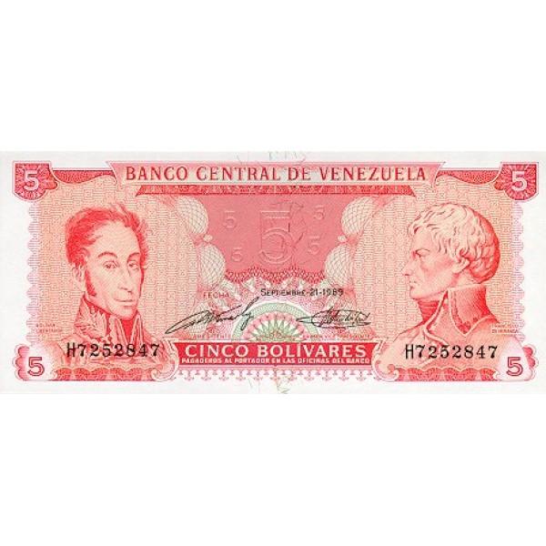 1989 - Venezuela P70a 5 Bolivares Banknote