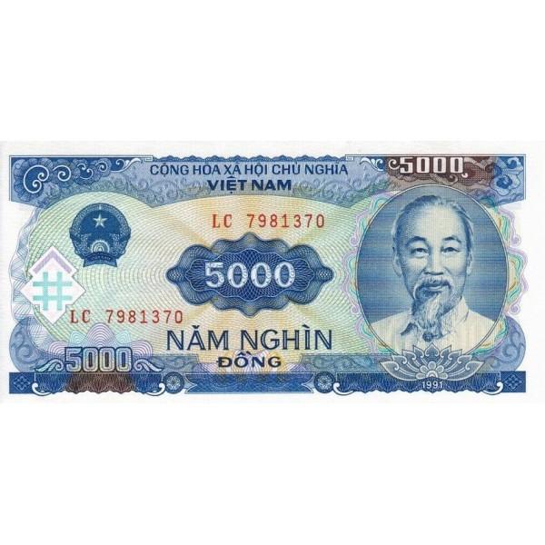 1991 -   Viet Nam   Pic 108  5000 Dong banknote