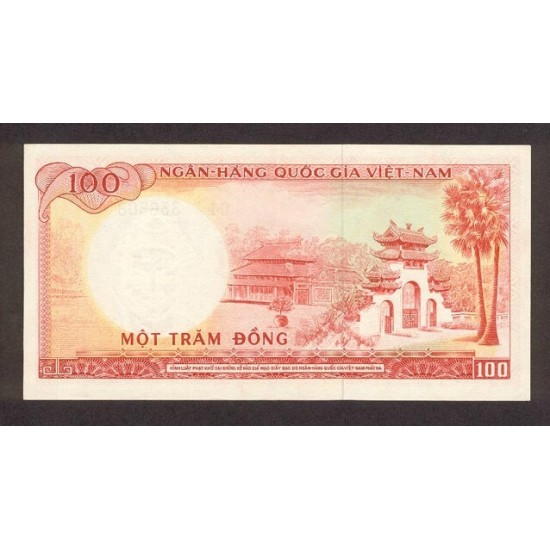 1966 -   Viet Nam South  Pic  19b      100 Dong banknote