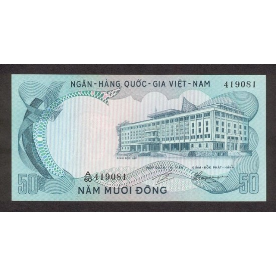 1972 -   Viet Nam South  Pic  30      50 Dong banknote