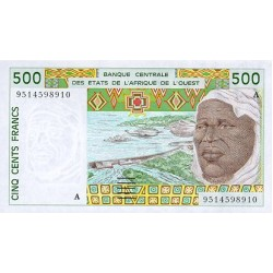 1997 - W. Africa State (Ivory Coast) Pic 110Ah 500 Frs. banknote