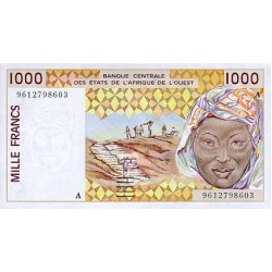 1992 - W. Afri.State (Ivory Coast) Pic 111Ab 1.000 Frs. banknote